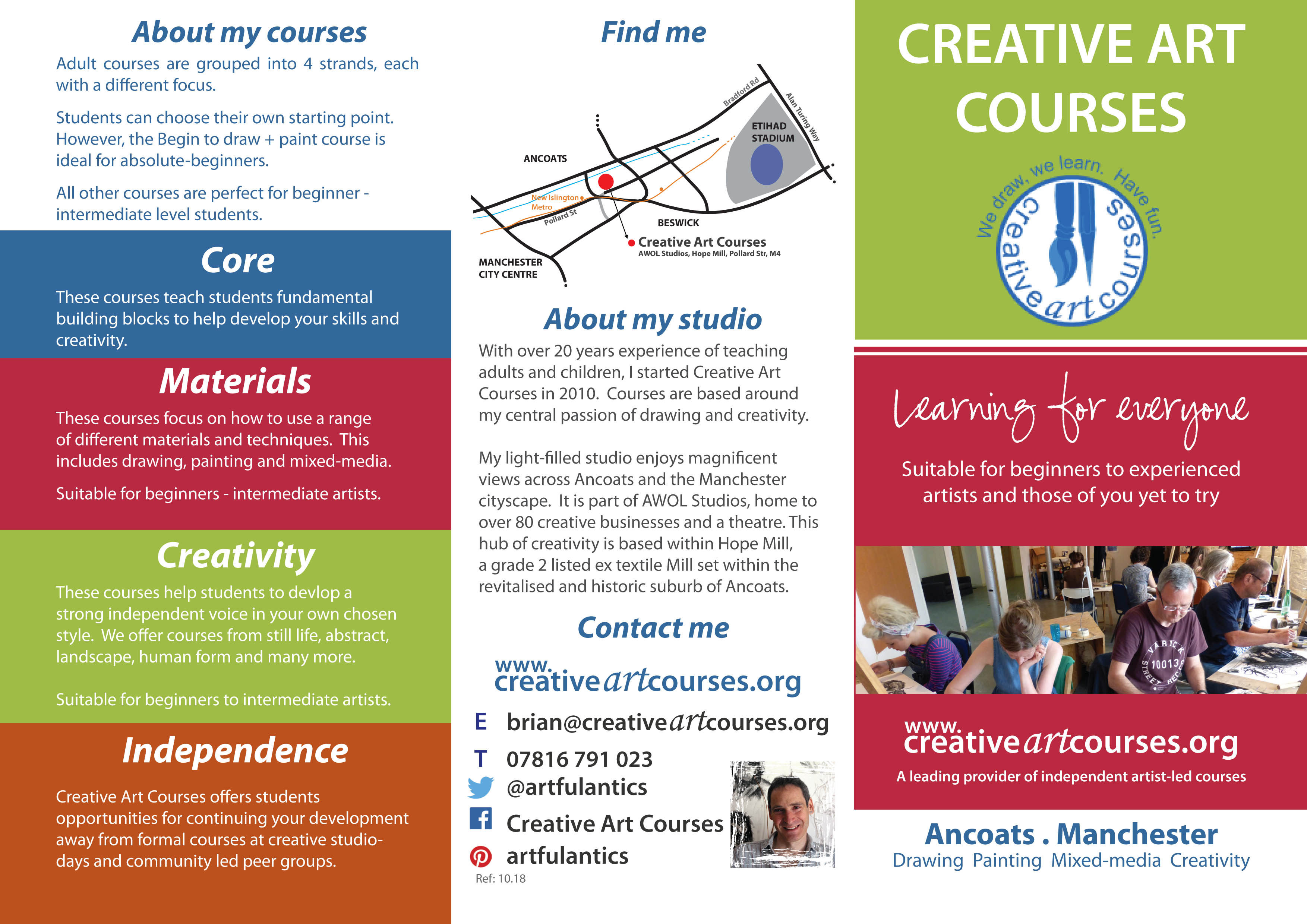 Creative Art Courses leaflet