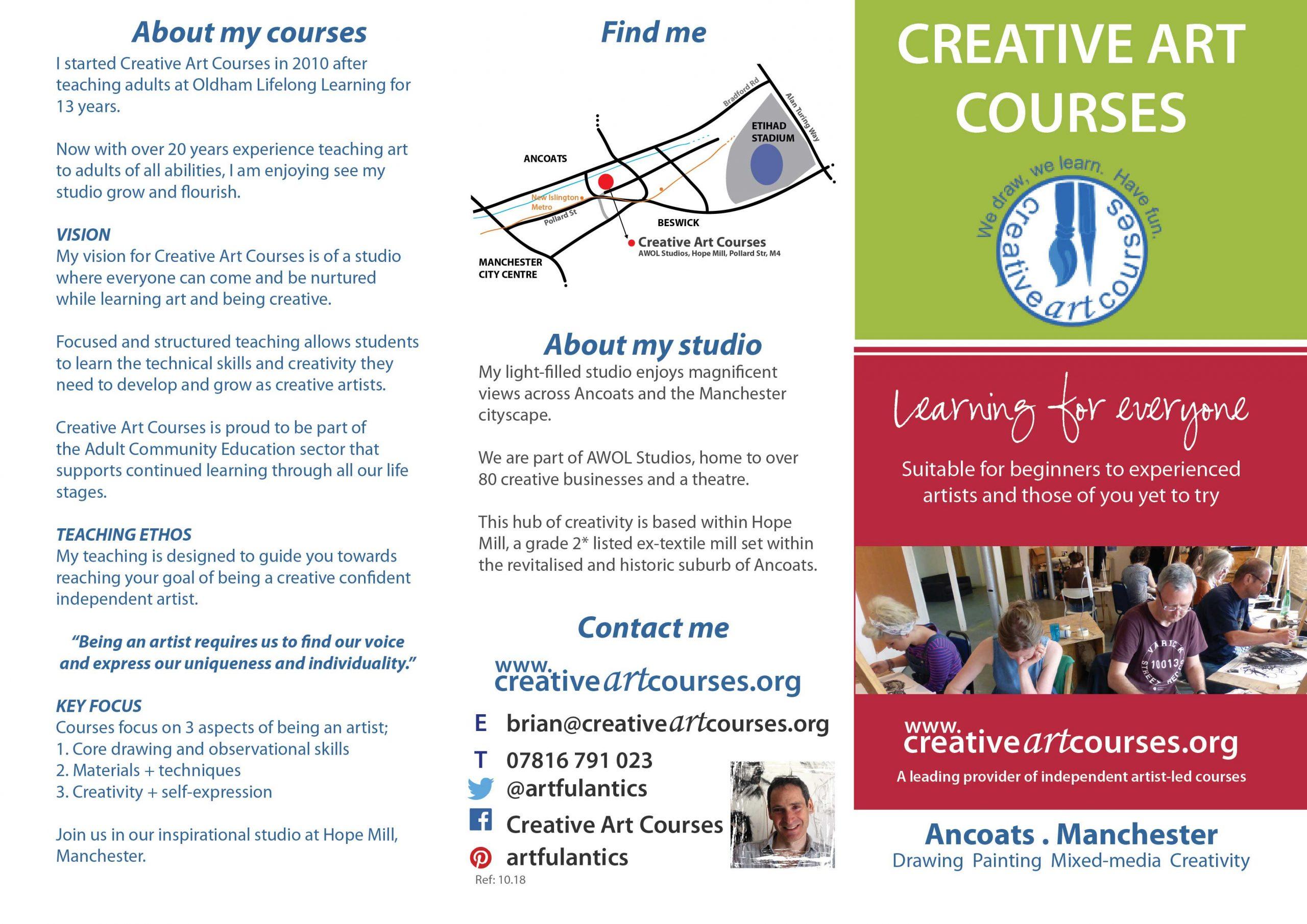 Creative Art Courses leaflet