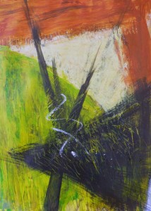 Abstract painting in acrylic paint and mixed media