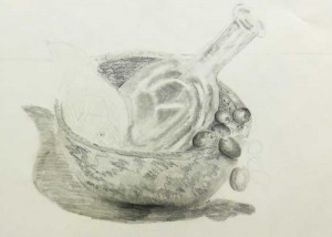 Detailed observational drawing - ceramic bowl and glass