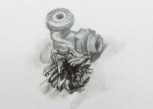 Detailed observational drawing - pine cone and metal