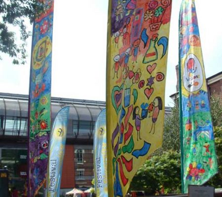 Oldham Welcome flags - Sails, banners and flags. Hand painted or reverse applique. for community festivals and events.