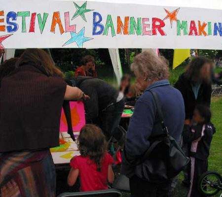 Plattfields Community festival - Sails, banners and flags. Hand painted or reverse applique. for community festivals and events.