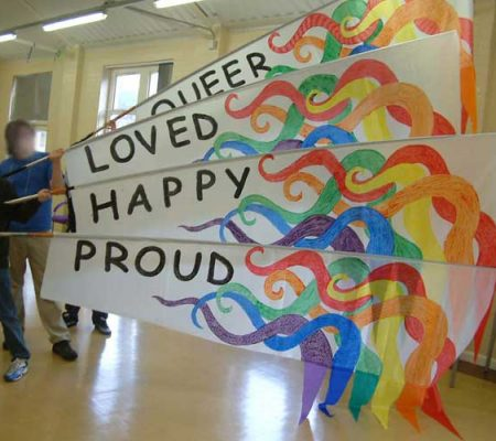 Rossendale LGBT - Costume, Sails, banners and flags. Hand painted or reverse applique. for community festivals and events.
