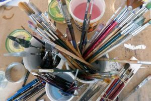 Begin to draw and paint - learning about different types of brushes