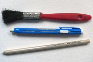 Pencil erasers used for highlights when drawing in pencil and charcoal