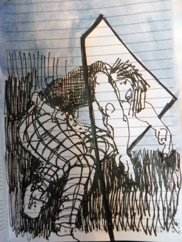 Letting my mind wonder. Looking back over my sketches will reveal common images and ideas - a theme.