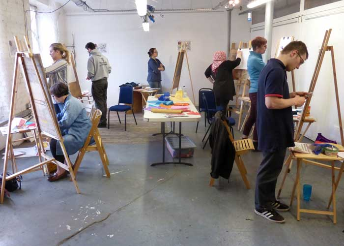 students drawing in studio