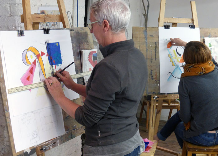 Visual Balance In Art : Students exploring visual balance creative art courses